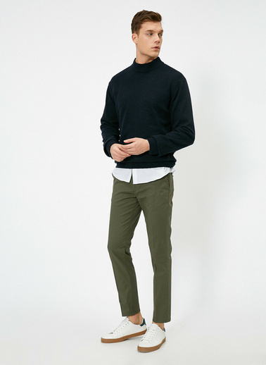 Koton Cep Detaylı Slim Fit Pantolon Yeşil